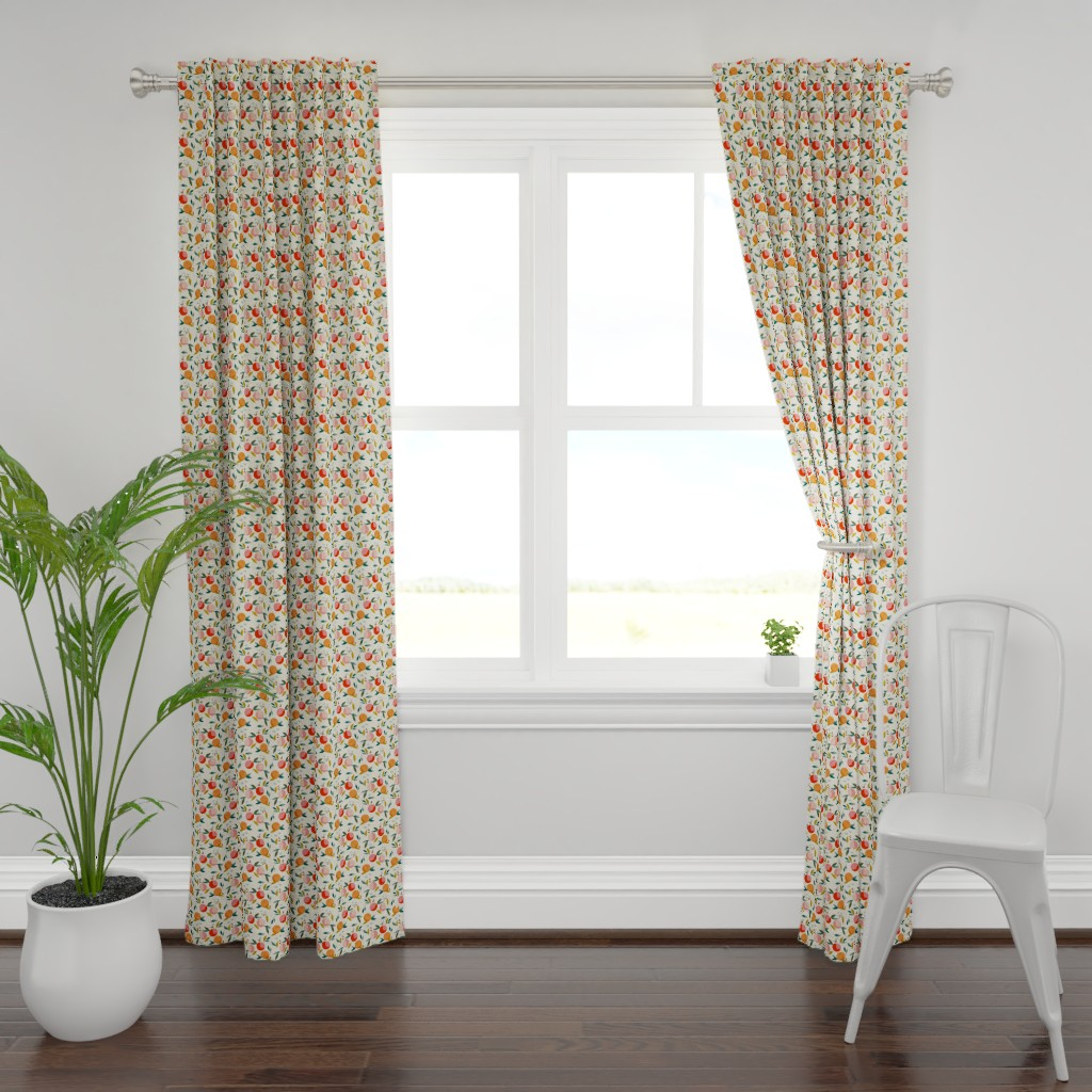 Plymouth Curtain Panel featuring Painted oranges by adelaidebtq