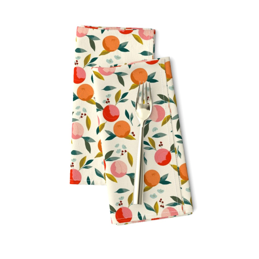 Amarela Dinner Napkins featuring Painted oranges by adelaidebtq