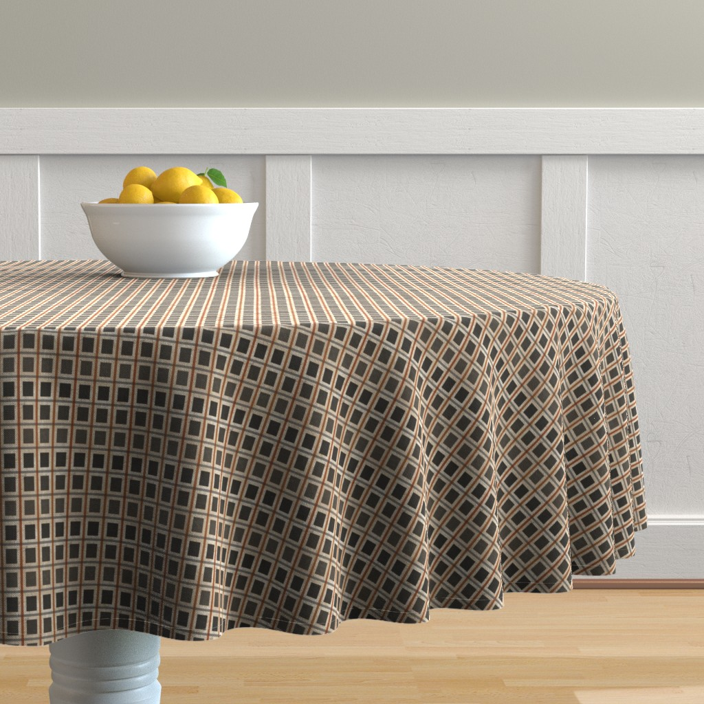 Malay Round Tablecloth featuring windowpane check-ombre- small by kae50