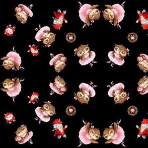 Nutckraker Ballerina Owl Christmas