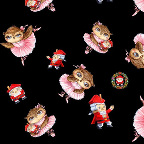 Nutckracker Ballerina Christmas Owl Inga Paltser