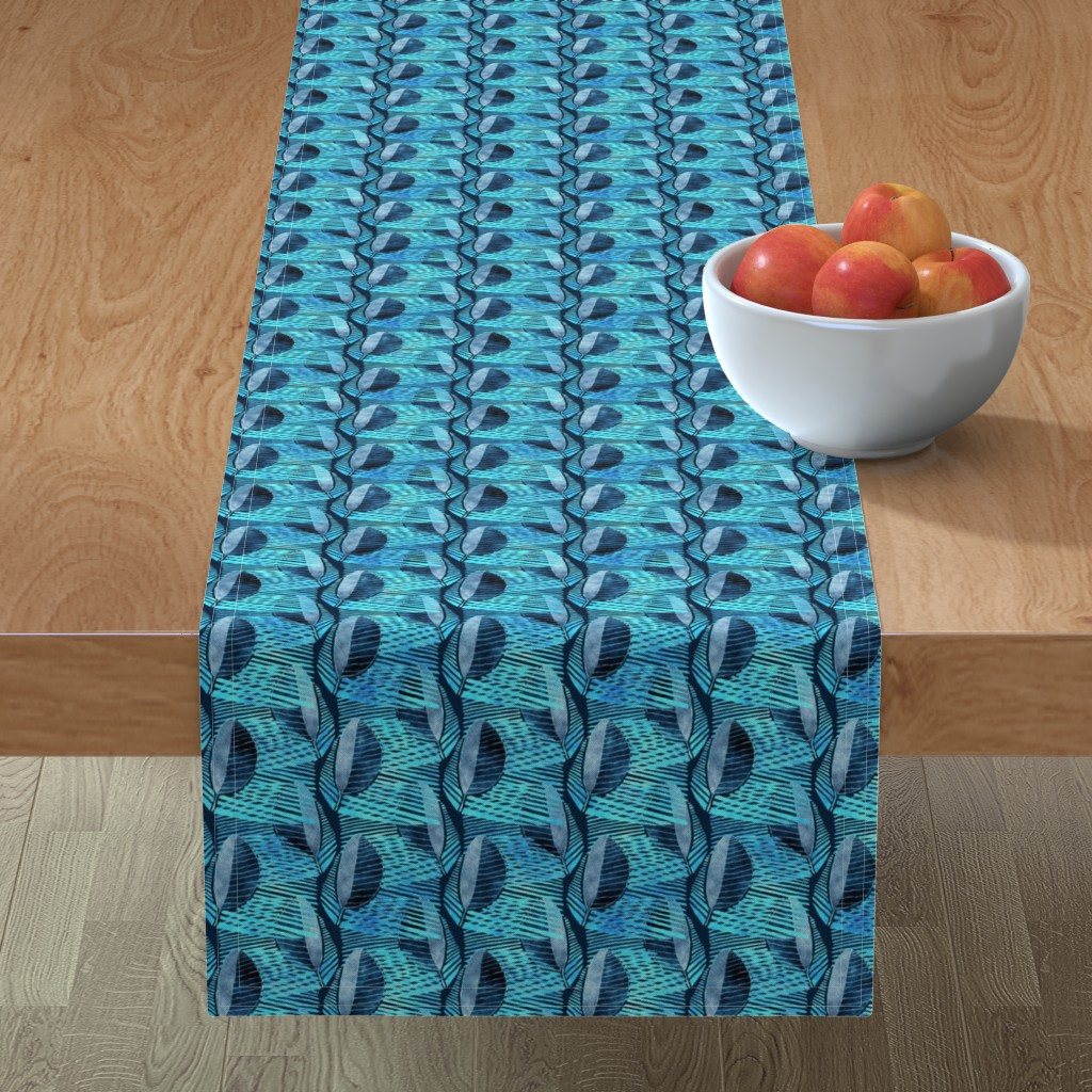 Minorca Table Runner featuring Modern Leaf Energy, Blue Denim by palifino