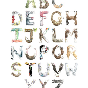 "Easy Alphabet Baby Blanket/Canvas Print 42"" - Animal ABCs BirdsFlyOver"