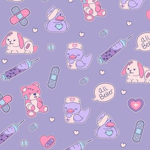 Cute Nurse Fabric - Menhera Teddy Bear Bunny Ducky Nurse Print