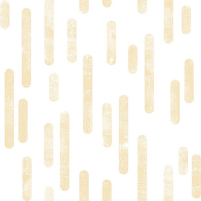Pale Yellow on White | Large Scale Inky Rounded Lines Pattern