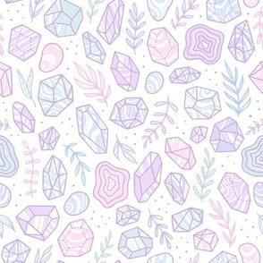 Pastel crystals and plants