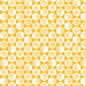 White Hexagons on Mustard Yellow