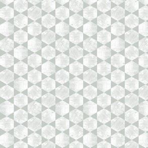 White Hexagons on Gray Green