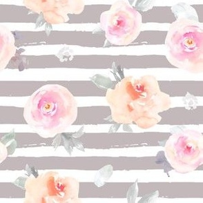 Pastel Florals with Gray Stripes