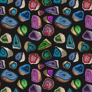 Geodes in Jewel Tones (dark background)