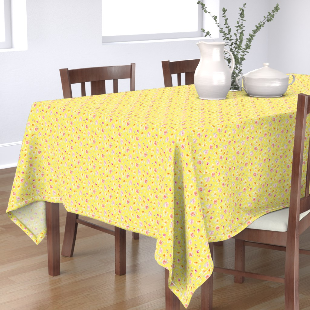 Bantam Rectangular Tablecloth featuring Sadie Bright Yellow Watercolor Floral by angiemakes