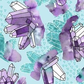 Amethyst Crystal Clusters / Violet and Aqua