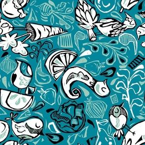Fruit and Vegeta-birds-Limited Color Range + Blue
