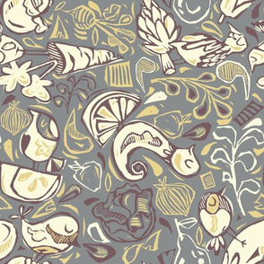 Fruit and Vegeta-birds- Grays, Purples, Gold