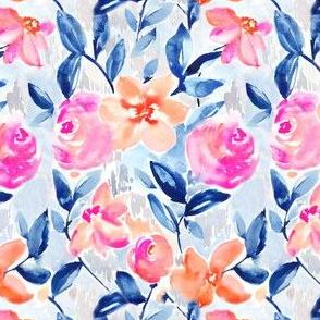 Indigo Blue and Orange Floral