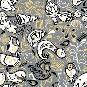 Fruit and Vegeta-birds-Gray, Gold, White