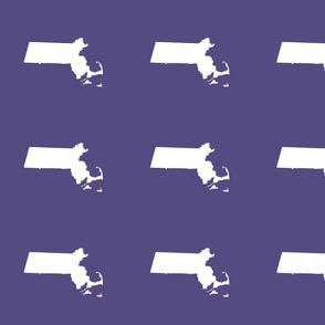 "Massachusetts silhouettes - 7"" white on purple"