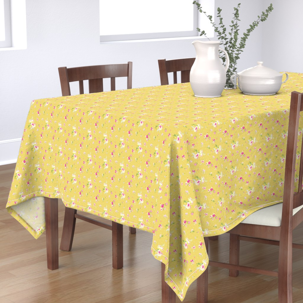Bantam Rectangular Tablecloth featuring Sadie Floral Field on Yellow by angiemakes