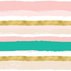 Gold, Pink, and Teal Stripes
