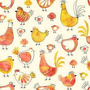 Chicken and rooster in watercolor orange on creme