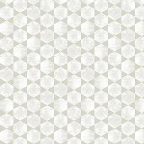White Hexagons on  Warm Gray / Beige