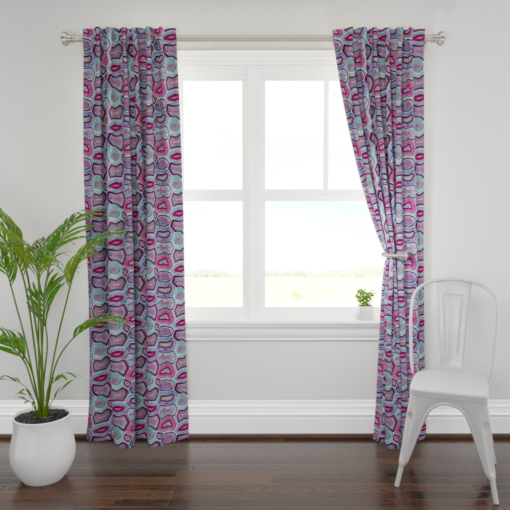 Plymouth Curtain Panel featuring geodemetric amethyst by michaelzindell