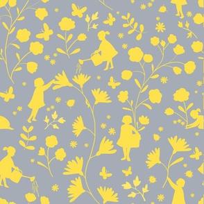 Fairies in the garden, yellow on grey