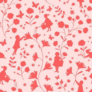 Fairies in the garden, red on light pink