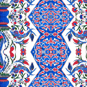 Tahtakale Flowers Silk Crepe de Chine Blue-Red