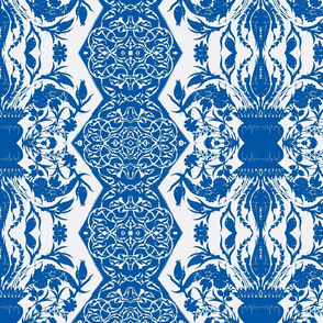 Tahtakale Flowers Upholstery Twill White-Blue
