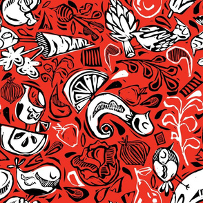 Fruit and Vegeta-birds- Red, Black, White