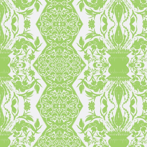 Tahtakale Flowers Upholstery Twill White-Green