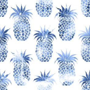 pineapples blue watercolor