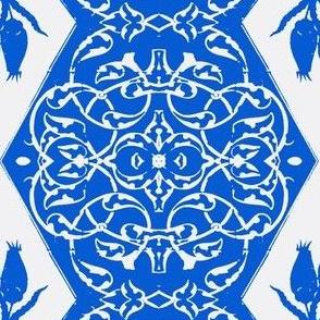 Tahtakale Flowers Upholstery Twill White-Mediterranean Blue