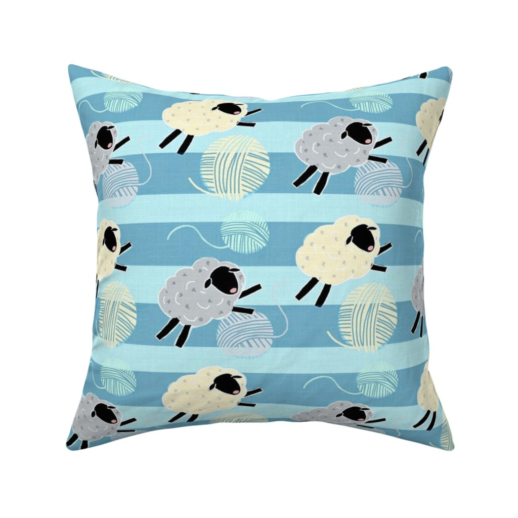 Catalan Throw Pillow featuring Wooly Sheep Yarn Jumpers / Blue  by franbail