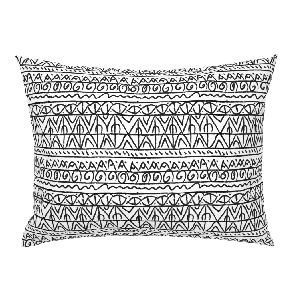 Campine Pillow Sham featuring tribal black and white  by barbarapritchard