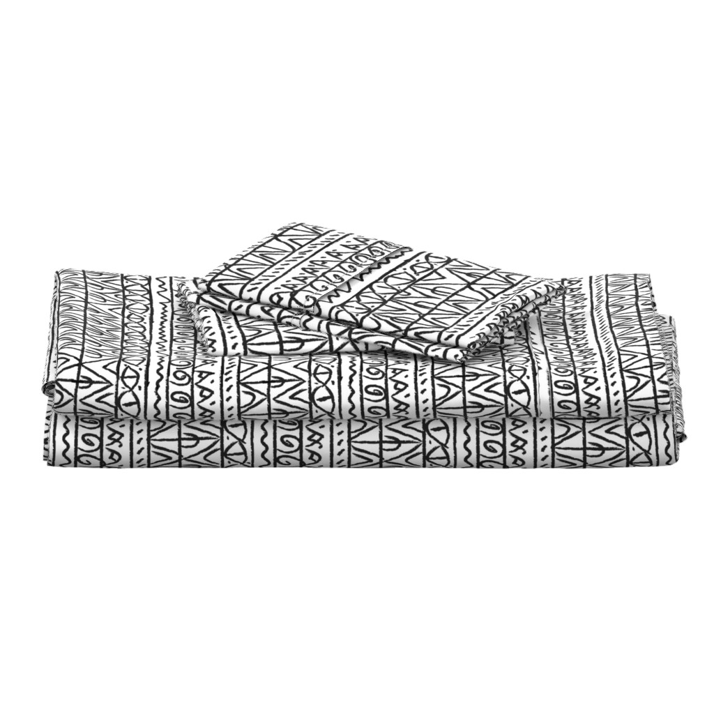 Langshan Full Bed Set featuring tribal black and white  by barbarapritchard