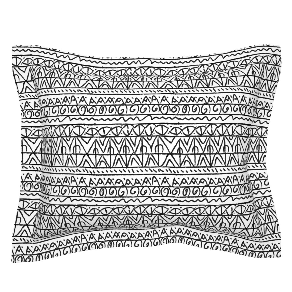 Sebright Pillow Sham featuring tribal black and white  by barbarapritchard