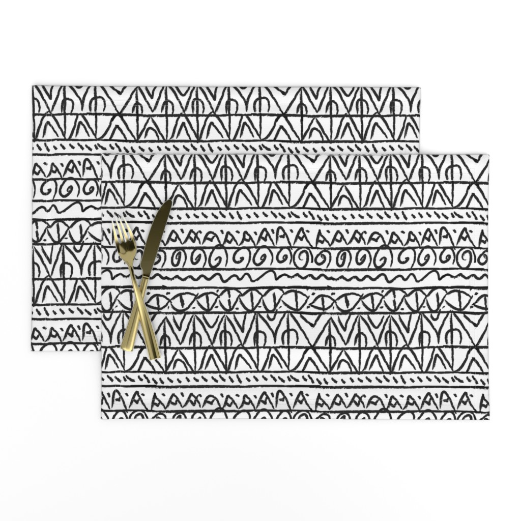 Lamona Cloth Placemats featuring tribal black and white  by barbarapritchard
