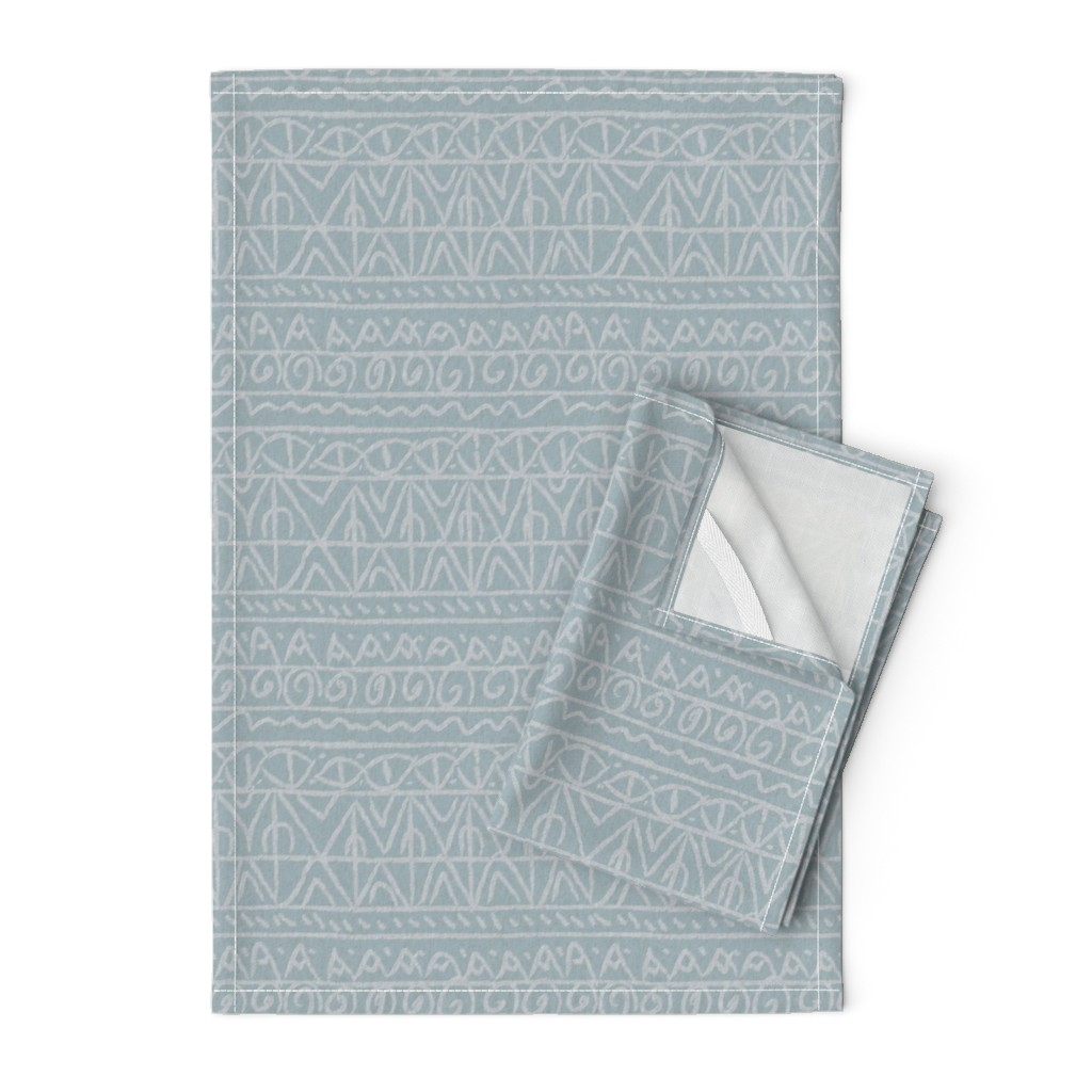 Orpington Tea Towels featuring tribal light blue and tan linen by barbarapritchard