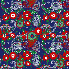 Red White Blue USA Paisley