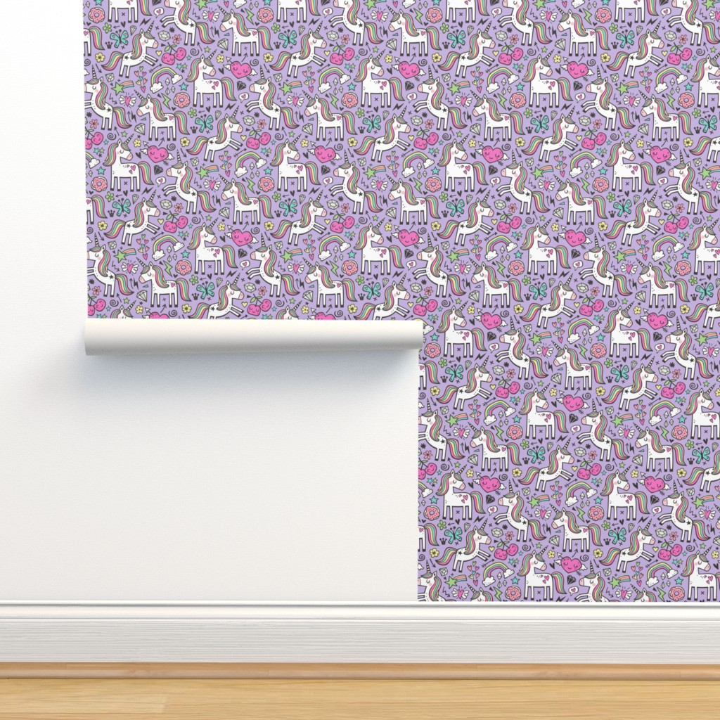 Isobar Durable Wallpaper featuring Unicorn & Pink Hearts Rainbow  Love Valentine Doodle on Purple Purpel Smaller 2 inch by caja_design