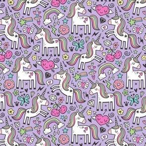 Unicorn & Pink Hearts Rainbow  Love Valentine Doodle on Purple Purpel Smaller 2 inch