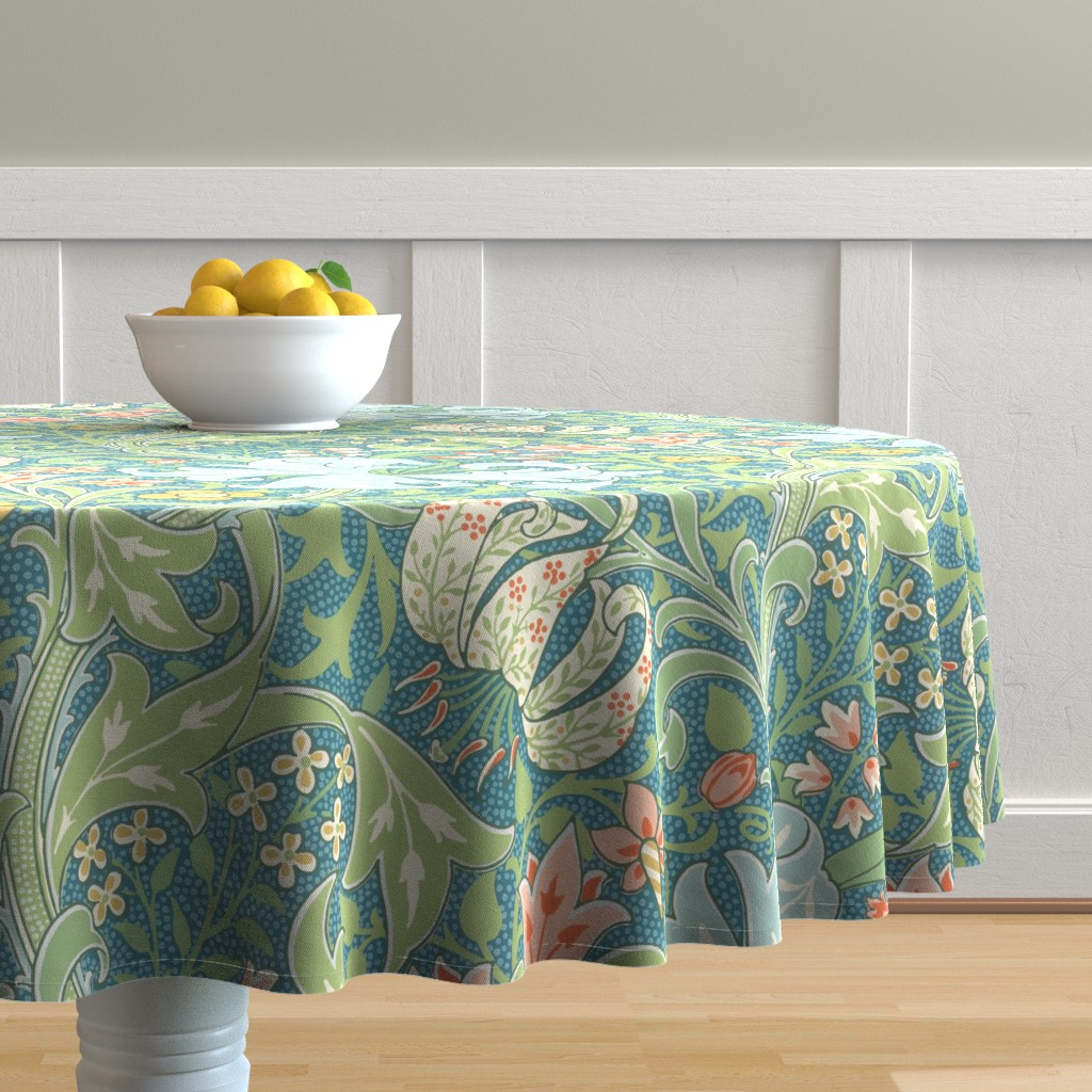 Malay Round Tablecloth featuring Golden Lily ~ Original  ~ The William Morris Collection by peacoquettedesigns