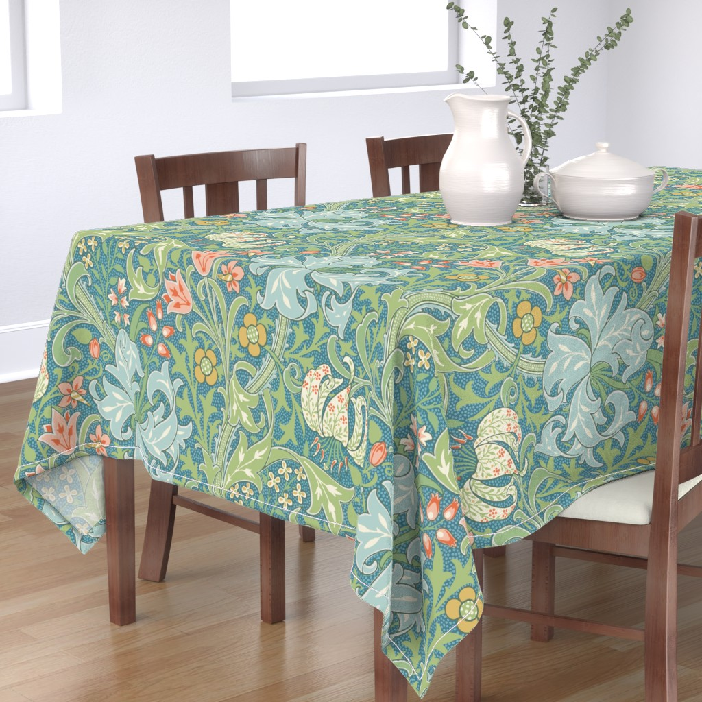 Bantam Rectangular Tablecloth featuring Golden Lily ~ Original  ~ The William Morris Collection by peacoquettedesigns