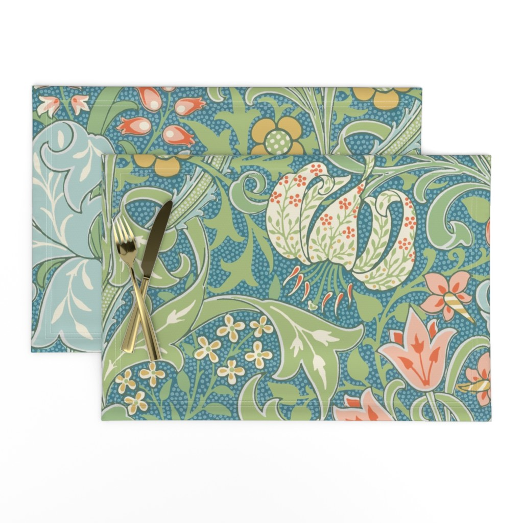 Lamona Cloth Placemats featuring Golden Lily ~ Original  ~ The William Morris Collection by peacoquettedesigns
