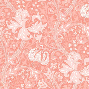Golden Lily ~ Coral and White ~ The William Morris Collection