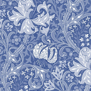 """Golden Lily ~ 24"""" ~ Willow Ware Blue and White ~ The William Morris Collection"""