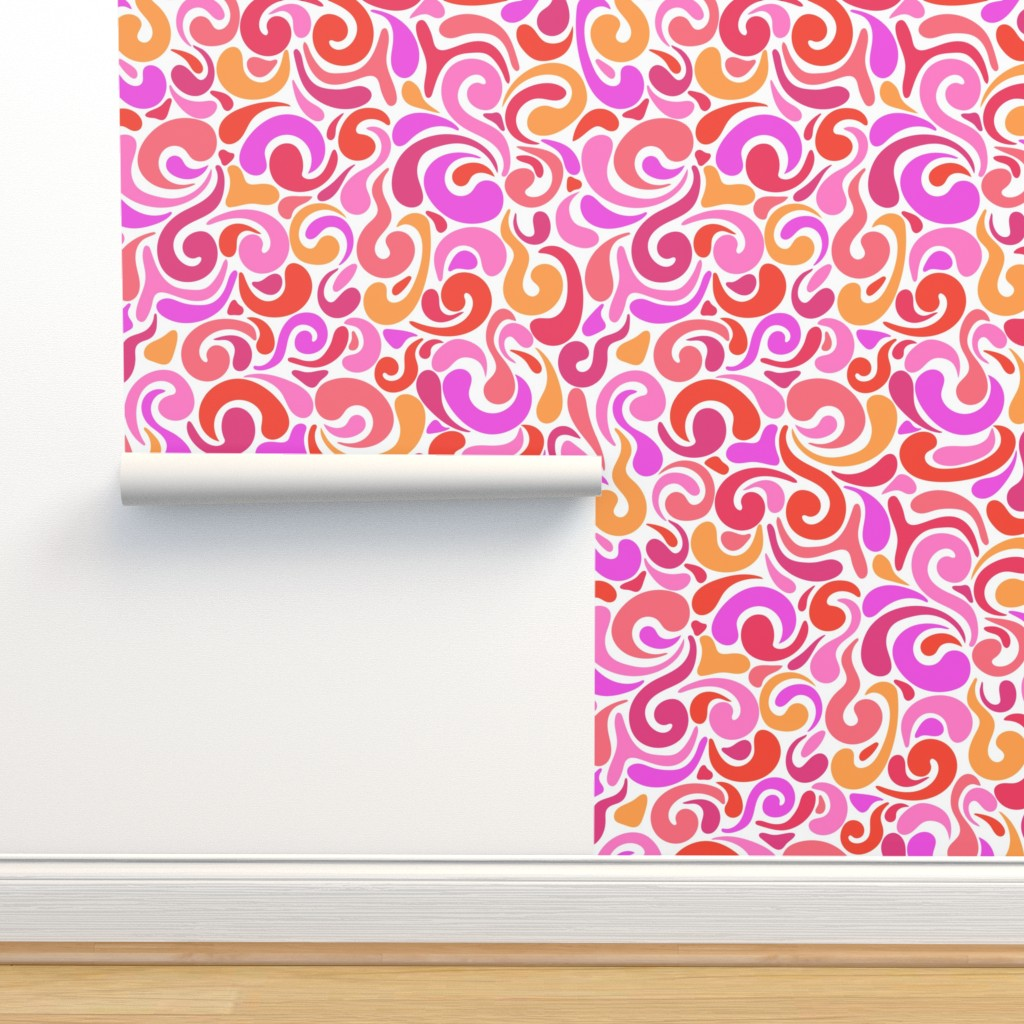 Isobar Durable Wallpaper featuring Lava swirls on white by vivdesign