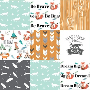 be brave little fox cheater quilt - with tribal arrows - gender neutral